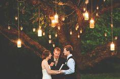 DIY Mason Jar Outdoor Wedding Ceremony Lighting