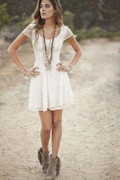 White lace girly dress + fringe booties