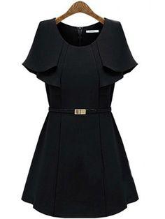 SheInside: Black Cape Ruffles Sleeve A-line Short Dress US$32.50 -- As seen on The Clothes Horse blog