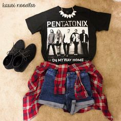 How to Style Your #OnMyWayHome Tour T-Shirts On My Way Home Tour T-Shirt - PTX Official Store On My Way Home Tour Tickets - PTX Official *Plaid Shirt - Target *Shorts - H&M *Necklace - Charlott...