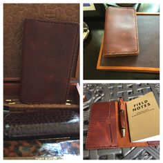 Leather Field Notes cover, with two card slots and one slot for notes/bills. Oil tanned leather, brown with black thread. #leather, #fieldnotes, #notes, #handcrafted, #handmade