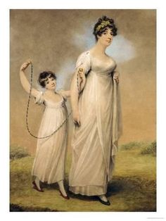 Copyright (c) Jane Austen's World. Jane Austen fans are more familiar with… Jane Austen, Regency Dress, Regency Era, Watercolor Portraits, Historical Clothing, Historical Dress, Mother And Child, Fashion Plates, Fashion History