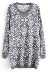 abaday Rich Flowers Totem Grey Jumper