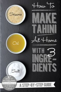 A super easy tutorial on how to make tahini at home with only 3 ingredients and 2 simple steps.