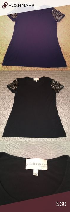 Black Top with embellished sleeves Black top with silver studs to sleeves for embellishing.  Incredibly soft EUC. Only worn once or twice.   Offers welcome Philosophy Tops