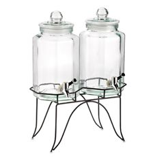 Home Essentials Del Sol Twin 1-Gallon Beverage Dispensers on Metal Rack -  For iced tea and lemonade