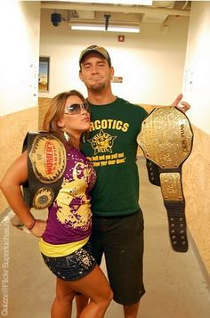 Mickie James and CM Punk WWE Women's and World Heavyweight Champions Best Wrestlers, Female Wrestlers, Bruiser Brody, Wwe Backstage, Cult Of Personality, Mickie James, Wwe Girls, Wwe Champions, Cm Punk
