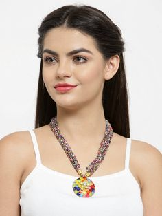 Fashion Pachi Pendant With Poth Beading Multicolor Necklace Fashion Jewelry Stores, Jaipur, Fashion Necklace, Party Wear, Jewelry Collection, Beading, Pendants, Jewellery, Style