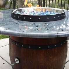 Wine Barrel Fire Pit and Table Top That Hides Propane Tank