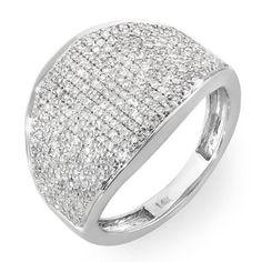 1.50 Carat (ctw) 14k White Gold Round Diamond Ladies Cocktail Ring 1 1/2 CT