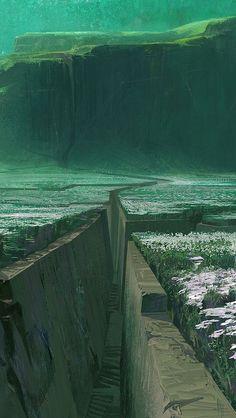 ideas for fantasy landscape anime concept art Landscape Concept, Fantasy Landscape, Landscape Art, Landscape Illustration, Landscape Architecture, Environment Concept Art, Environment Design, Fantasy Places, Fantasy World