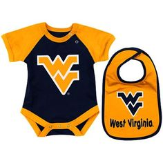 West Virginia Mountaineers Infant Derby Creeper & Bib Set - Old Gold/Navy Blue