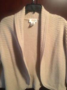 Talbots Crop Cardigan Medium Sweater Classic Soft Beige Cashmere Silk Comfy   d22ada1869298