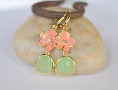 Gold Dangle Earrings with Coral Orange Flower and Mint Teardrop. Dangle Earrings in Gold. Fashion Earrings.