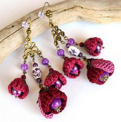 Your place to buy and sell all things handmade Purple Earrings, Dainty Earrings, Flower Earrings, Handmade Accessories, Handcrafted Jewelry, Boho Crochet Patterns, Crochet Embellishments, Tatting Jewelry, Matching Necklaces