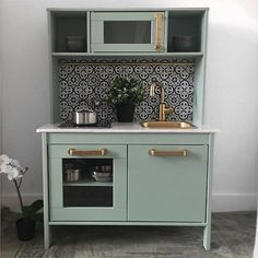 duktig kitchen ikea hack mint sage gold tiles