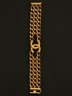 "Vintage Chanel Gold Double ""C"" 3 Row Link Bracelet at London Jewelers!"
