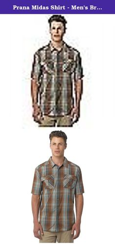 Prana Midas Shirt - Men's Brown Small. FEATURES of the Prana Men's Midas Shirt Plain weave yarn-dye fabrication Small scale plaid Snap closure Novelty crinkle wash treatment Fibers which meet regulations by the USDA National Organic program, ensuring highest environmental agricultural practices.