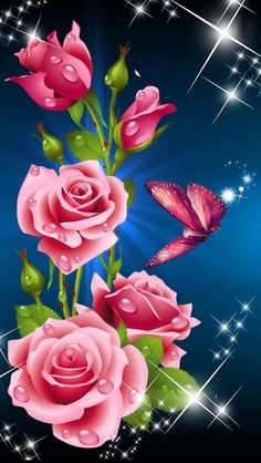 Romancing the Rose...Pink Roses & Butterfly...iPhone 5 Wallpaper...By Artist Unknown...@;}~