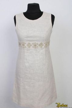 Ukrainian embroidered dress on linen