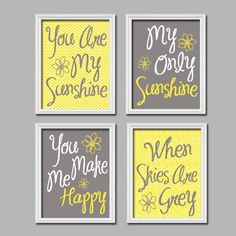Cute Yellow Grey You Are My Sunshine Quote Nursery Song Print Artwork Set of 4 Prints Wall Decor Art Picture