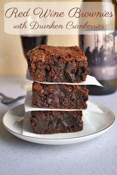 Very clever Red Wine Brownies Recipe with Drunken Cranberries via cookienameddesire.com