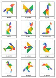 Modèles d'animaux en couleur pour jeu tangram à imprimer gratuitement