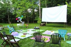 Less-Than-Perfect life of bliss: sweet 16 outdoor movie party: sources and Backyard Movie Party, Summer Backyard Parties, Outdoor Movie Party, Backyard Party Decorations, Backyard Movie Nights, Backyard Birthday, Outdoor Movie Nights, Outdoor Birthday, Outdoor Parties