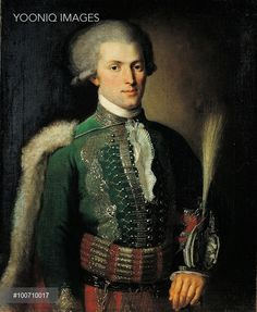 Yooniq images - Portrait of a Hussar Officer, by Kozlov Gravriil Ignat'evic, 18th Century, 1787, oil on canvas, cm 80 x 66