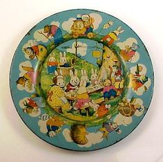 Peter Rabbit's Radio Party Lithograph Tin Easter Plate
