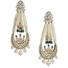 kundan meena earrings India Jewelry, Pearl Jewelry, Diamond Jewelry, Wedding Jewelry, Antique Jewelry, Gold Jewelry, Jewelery, Fine Jewelry, Engagement Jewellery
