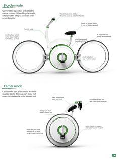 carrier bike   designboom.com Traffic Congestion, Electric Tricycle, Bike Pump, Folding Bicycle, Bicycle Maintenance, Cool Bike Accessories, Yanko Design, Bicycle Design, Electric Motor
