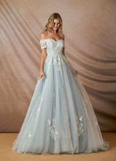 Shop Azazie Wedding Dress - Azazie Rowe BG in Tulle and Lace. Find the perfect wedding dress for your big day. Available in full size range and in custom sizing at Azazie. Cute Prom Dresses, Blush Dresses, Ball Dresses, Pretty Dresses, Beautiful Dresses, Floral Prom Dresses, Blue Ball Gowns, Light Blue Wedding Dress, Perfect Wedding Dress