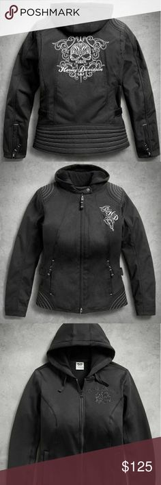 HARLEY DAVIDSON 3-in-1 Riding Jacket Bought for $260(+tax) still listed on Harley Davidson website.   This adaptable layer transitions as easily as the weather changes. Skull 3-in-1 Riding Jacket includes a lined poly canvas outer layer with a removable fleece hoodie ready to wear solo. Layer both when it's cold. Functional features on this women's textile motorcycle jacket are: armor pockets, side vents, reflectivity, and adjustable waist tabs.mbholes on cuffs, snap hand-warmer pockets…
