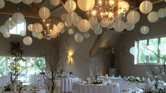 White paper lanterns, Lampion, nylon lantern, huwelijk decoratie, wedding decoration, bruiloft versiering