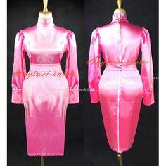 Free Shipping Sissy Maid Gothic Lolita Pink Satin Dress Cosplay Costume Custom-made