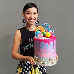 Portrait of baker Katherine Sabbath holding her cake