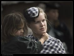Photo by Lara Hartley of mum and daughter during the American Civil War reenactment of Union troops fighting the Confederates in the hills of the Calico Mountain ghost town