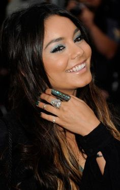 Pretty makeup and rings.