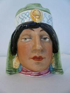 Antique Lidded  Figural Porcelain Tobacco Humidor Jar Majolica