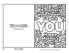 Print and Color-in this #KidoodleTV Mother's Day card for the special mom in your life! Mother's Day Diy, Activity Sheets, Coloring Sheets, Happy Mothers Day, Fun Activities, Are You Happy, Parenting, Education, Cards