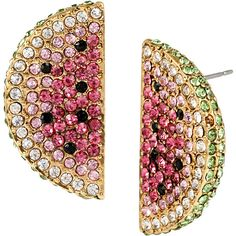 Betsey Johnson Ocean Drive Pink Watermelon Button Earrings ($40) ❤ liked on Polyvore featuring jewelry, earrings, accessories, pink, rings, multi colored stud earrings, pave stud earrings, pink earrings, multicolor earrings and stud earrings