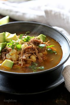 Pressure Cooker Pozole (Pork and Hominy Stew) –delicious and comforting for a chilly winter night. Also great in an Instant Pot!