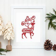 Christmas Scandinavian Deer Printable Merry Xmas Deer Ho Ho Ho Noel Print Christmas Decor Red Christmas Wall Art Holiday Decor Holiday Print by MossAndTwigPrints on Etsy