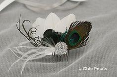 Tocado de plumas para novia tocado boda tocado por ByChicPetals