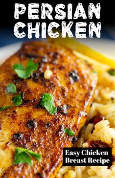 These Persian Chicken Breasts are quick and easy, making an exotic yet comforting dinner, perfect for serving with some jeweled rice. Iranian Dishes, Iranian Cuisine, Iranian Food, Persian Chicken And Rice Recipe, Arabic Chicken Recipes, Chicken Breast Rice Recipe, Easy Chicken Breast Marinade, Chicken Fillet Recipes, Grilled Chicken Breast Recipes