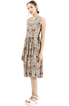 Topshop+'Garden'+Lace-Up+Midi+Dress+available+at+#Nordstrom