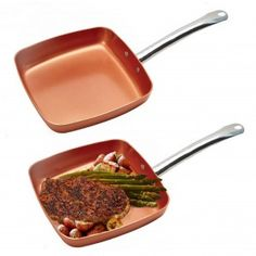 "9.5"" Nonstick Copper Square Frying Pan"