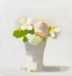 Rose/Mock Orange - Stanley Bielen (Deliberate brush strokes with light, med., dark values easily seen. Art Floral, Still Life Flowers, Garden Painting, Still Life Art, Paintings I Love, Abstract Flowers, Art Plastique, Love Art, Painting Inspiration