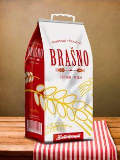 Bakery flour packaging and brochure design. Cereal Packaging, Bakery Packaging, Food Packaging Design, Plastic Packaging, Packaging Design Inspiration, Packaging Ideas, Brochure Design, Branding Design, Flour Bakery